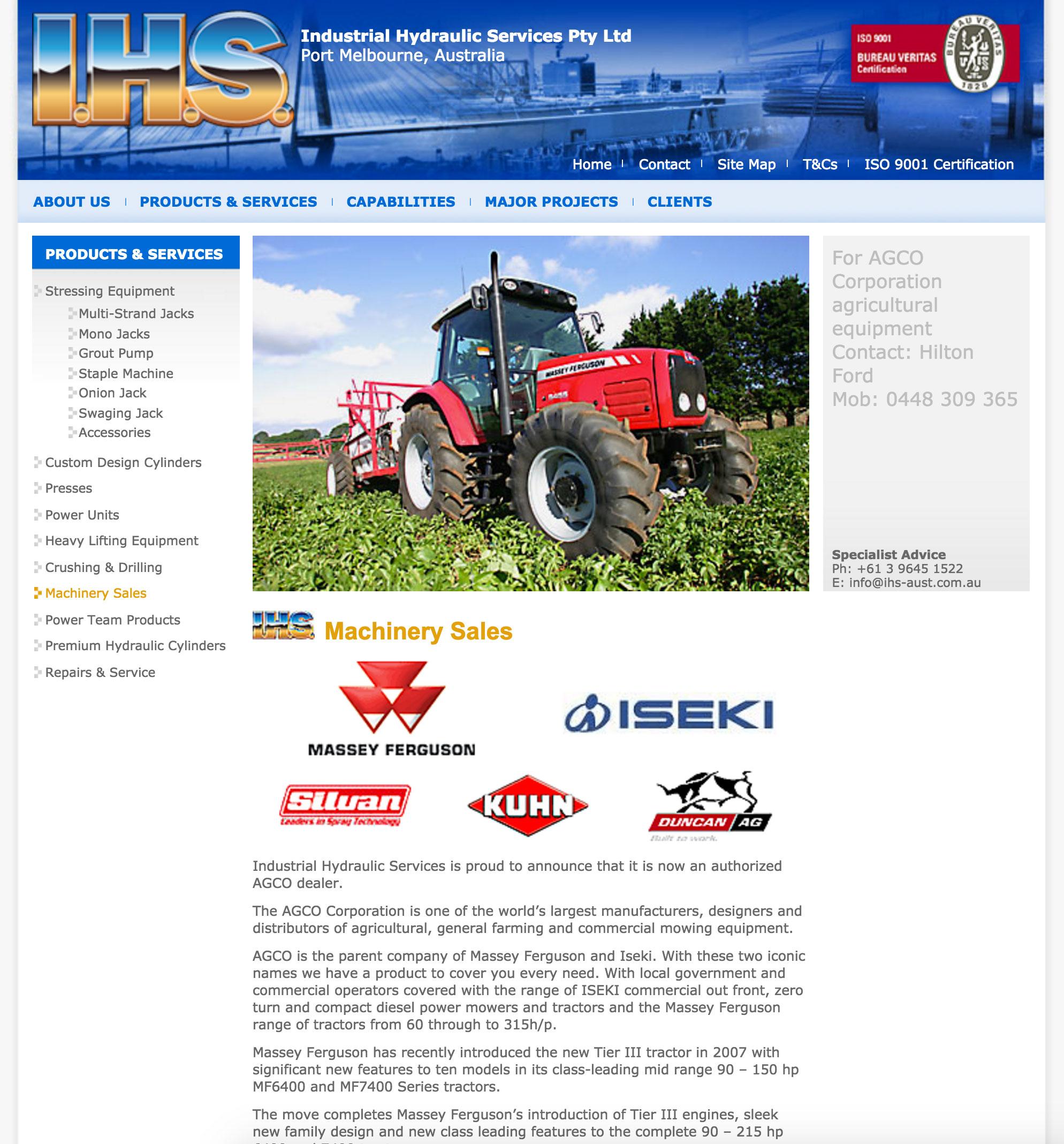 Industrial hydraulic services australia website design for Industrial design services
