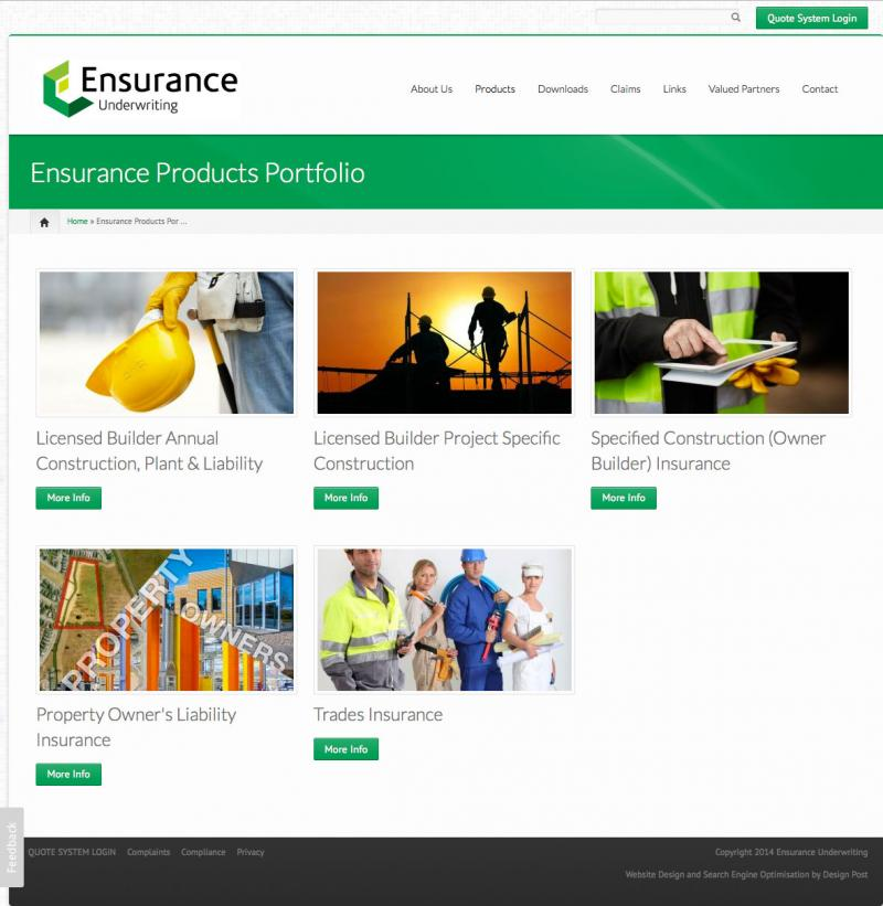 Web design - Ensurance Underwriting