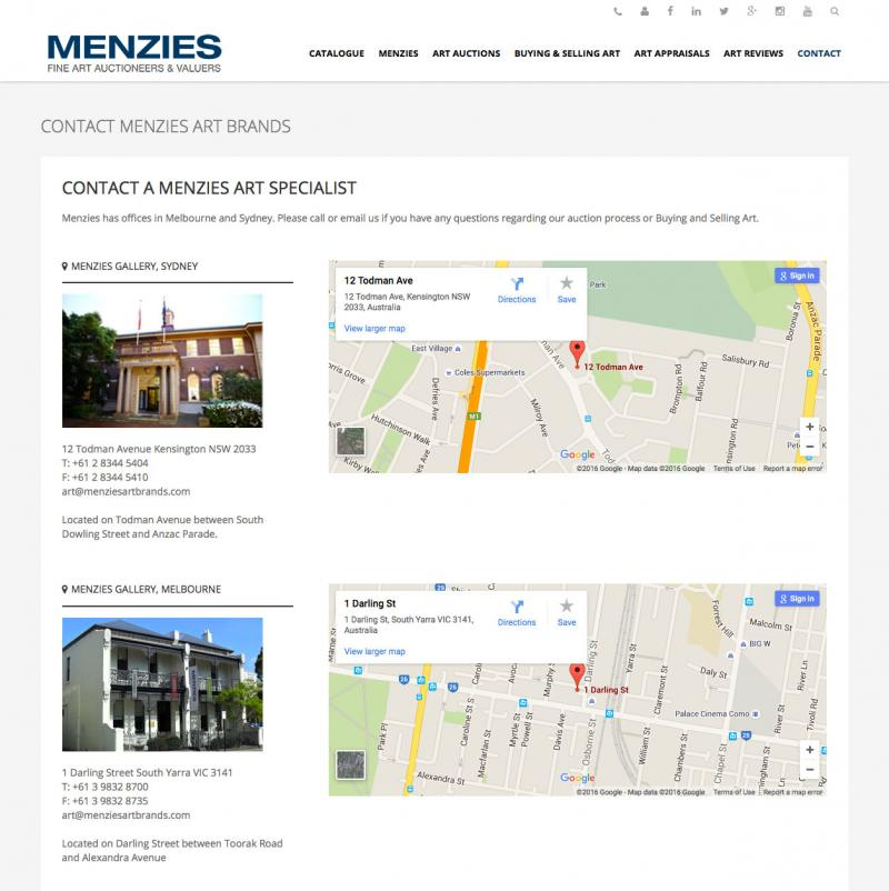 Web design - Menzies Art Brands