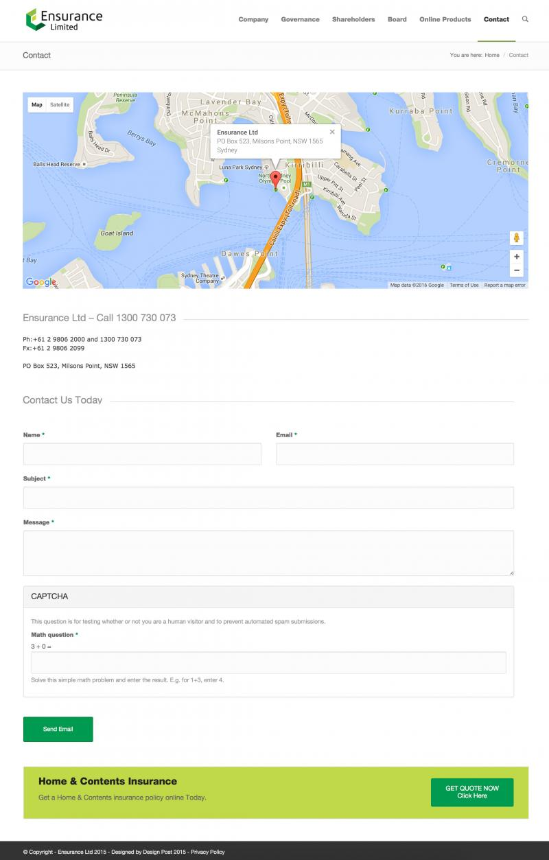 web design -Ensurance Ltd